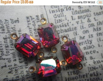 SALE 30% Off Vintage Swarovski Hyacinth AB 10x8mm Glass Octagon Brass Ox Connectors or Drops 4 Pcs