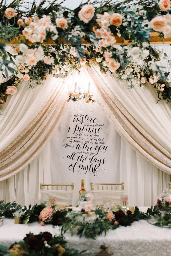 wedding cake backdrop calligraphy wedding vow fabric backdrop for ceremony cake 21773