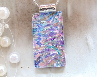 Pink Necklace, Purple, Dichroic Glass Pendant, Fused Glass Jewelry, Necklace Included, One of a Kind, A3