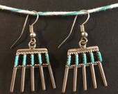 Turquoise earrings Zuni needlepoint dangle from wires, set in sterling silver, handmade Native American, turquoise jewelry, gifts for women