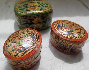 Vintage Mache' Boxes - Trinket Boxes  Made in India Hand Painted Vintage 1960s Set of Three