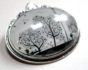 Large flower brooch, black hearts BF226
