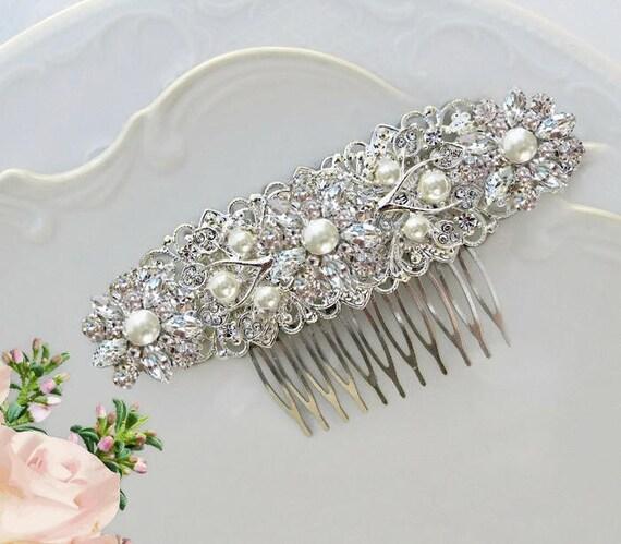 Pearl Wedding comb,  Bridal hair Clip, pearl Barrette, Vintage Style, Wedding Hair clip, pearl bridal comb, pearl headpiece, hair brooch