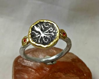 Ancient Greek Coin Statement Ring, 22 kt yellow gold, silver and sapphire ring, Octopus coin ring, ancient coin jewelry