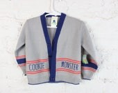 1980's Cookie Monster Cardigan for Toddlers in Size 2 . Button Up Long Sleeve Sesame Street . Grey Navy Blue Children's Vintage Kids