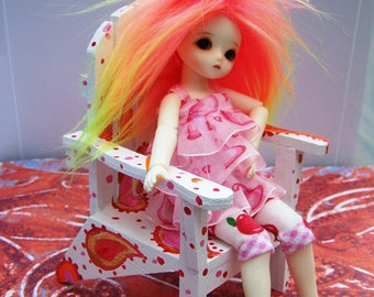 Summertime Paisley Dollhouse Doll Adirondack Chair for DAL Blythe or Pullip or Icy or Lati Yellow