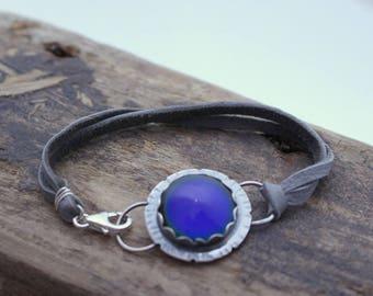 Sterling Silver Moodstone Leather Wrap Bracelet