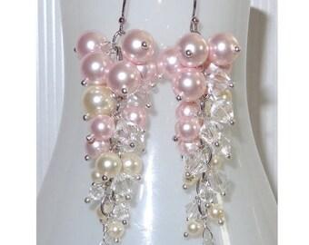 20% OFF Ombre Custom Column Earrings, Ivory, Bridal Earring, Wedding Earrings, Bridesmaids, Crystal Pearl Earrings