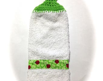 Lady Bug Hand Towel With Spring Green Crocheted Top