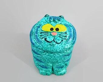 Vintage Cat Bank, Turquoise cat sculpture bank from Japan, Quon Quon Bank, Happy Cat piggy bank, Vintage Japanese