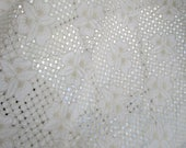 5+ Yards Embroidery White Eyelet Lace Flower Double Scallop Vintage Woven Fabrics Remants