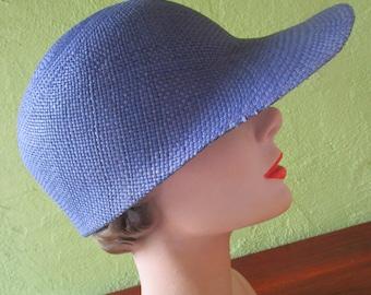 Loro Piana Italy Visor Cap  Navy Blue Sisal Straw Hat Sun