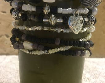 Boho black and white bracelets