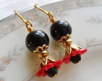 75% Off Clearance Sale, Lily Blossom Earrings, Gold Tone, Vintage Beads, Black and Red