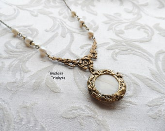 Antique Mother of Pearl Button Necklace, Ivory, Off-White, Antique Brass Ox, Freshwater Pearls