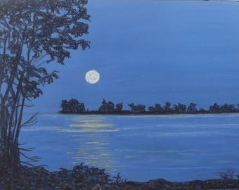 "Original pastel painting ""Daybreak on Amherst Island Number Seven"" 8"" x 11"" neither mat nor frame are included"