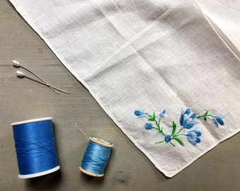 Something Blue Vintage Handkerchief - Wedding Hankerchief - Bridal Hankie - Vintage Hankie - Vintage Handkerchief for Wedding - Happy Tears