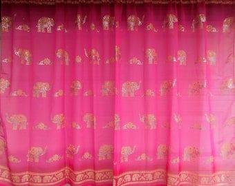 Hot Pink Indian Curtain Elephant Block Print Sheer Panel