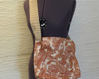 SALE, Paisley Shoulder Bag, Handmade Purse, Beige Burgundy, Snap Flap, Inside Pocket, Unique Shoulder Bag, Handmade Tote, Hippie Boho