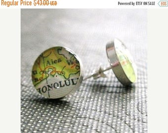SUMMER SALE Personalized Bridesmaids Gifts CUSTOM Simple Round Vintage Map Sterling Silver Stud Earrings