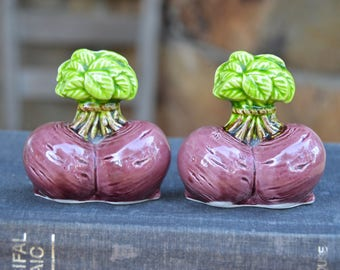Vintage Japanese ceramic turnip or radish salt and pepper shakers. Kitschy fun kitchen decor, 1950s, gardener or farmer gift