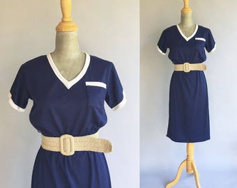 Vintage Navy Blue And White Day Dress (Size Small)