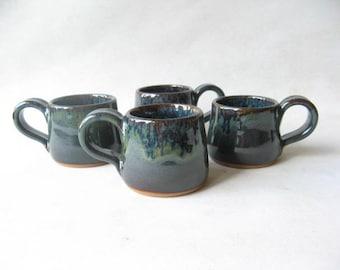 Espresso Cups Set of 4, Set of Demitasse, Stoneware Espresso Cups, Ceramic Espresso Cups