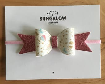 Unicorns and Pink Glitter Bow Headband // Hair Clip // Rainbow Bow // Glitter Bow // Photo Prop // Baby Headband // Mini Bow