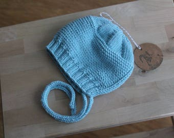 Hand Knit Size 12 months Bonnet / Cap in Robin's Egg Blue Merino / Baby Alpaca / Silk Blend Yarn