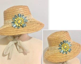 Annette Vintage 1960's Hawaiian Straw Sun Hat with Raffia Flower and Chiffon Ties