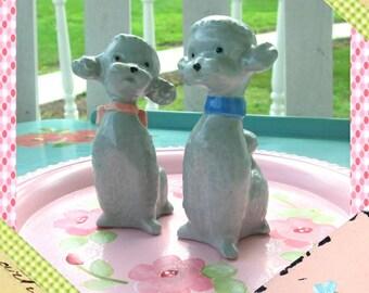 Vintage Poodle Figurines, Poodle Pair, 1950s Vintage Ceramic Poodles, Girl and Boy Paris Poodles, SALE