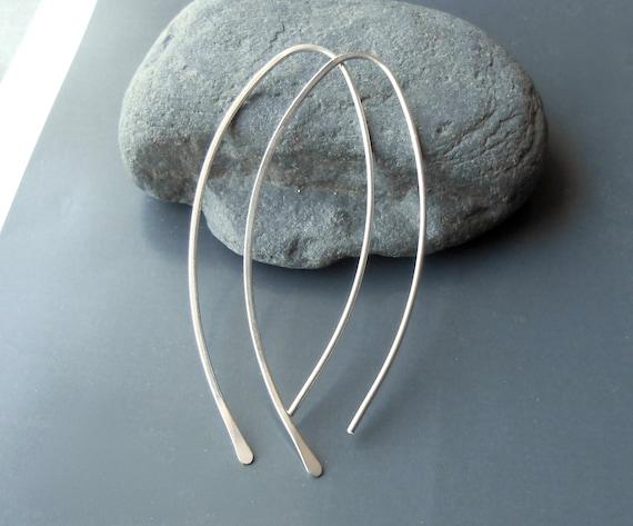 Long Sterling Silver Open Hoop Minimalist Earrings