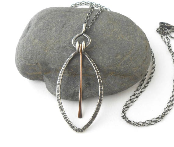 Rustic Oxidized Sterling Silver Pendant Necklace