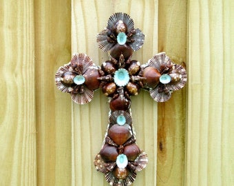 Cross with Shells, Wall Art, Seashell Crucifix, Brown and Turquoise, Calico Shells, Religious Gift,Priest  Fathers Day Gift