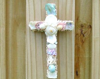 Cross Shells Crucifix, Wall Art, Pastel Seashells, Christian Religious Priest Minister Gift, Coastal Decor, New Baby Baptism Gift, Xmas Gift