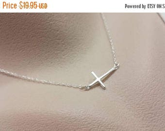 ON-SALE Sideways Cross Necklace - Thin Cross, Sterling Silver Necklace, Dainy Silver Cross, Celebrity Inspired, Simple Cross, Layering