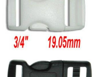 "50 BUCKLES - CURVED Side Release - 3/4"" - Adjustable Polyacetal Plastic, Strap Collar Buckle - Black or White"