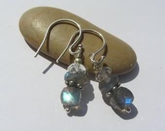 Labradorite Earrings, Quartz Earrings, Blue Flash,Blue Labradorite, Labradorite Quartz, Dangle Earrings, Wire Wrapped, Silver Daisy Spacers