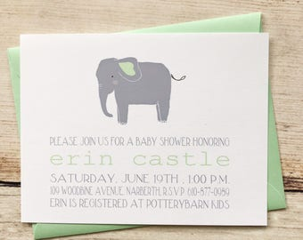 Elephant Baby Shower Invitation, Boy or Girl Baby Shower Invitation, Printed Baby Shower Invitation gender neutral