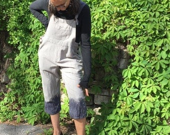 Blue Dip Bib Overall one size M-XXL - baggy style jumpsuit, cotton dyed romper, grey and blue bibs, cotton bib overalls