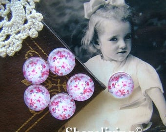 SALE - 30% OFF Glass Cabochon, 8mm 10mm 12mm 14mm 16mm 20mm 25mm 30mm Round Handmade photo glass Cabochons   (Cherry Blossom) -- BCH040E