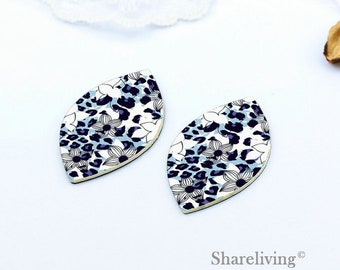 Quality Upgrade - 6pcs (3 pairs) Faux Leather Leaf for Earrings,  Flower Leather, DIY Leaf Die Cut, Two sizes  - LF202R