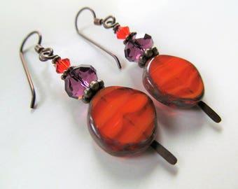 Orange Czech Glass and Amethyst Purple Swarovski Crystal Beaded Niobium Earrings - BeadedTail