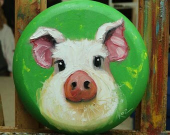 Pig painting 258 12 inch diameter original oil painting by Roz