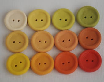 23 mm handmade buttons set of 12, Sunshine colors palette, Yellow green orange