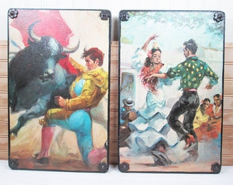 Vintage Bullfighting Spanish Dancer Decoupaged Wood Wall Hanging Art Plaque Set Mid Century