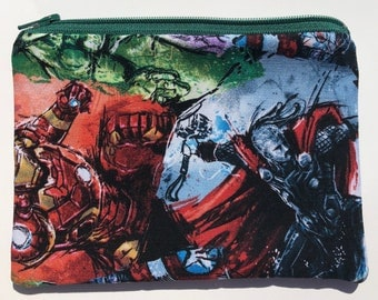 Superheroes Zipper Pouch - Iron Man, The Hulk, Thor.