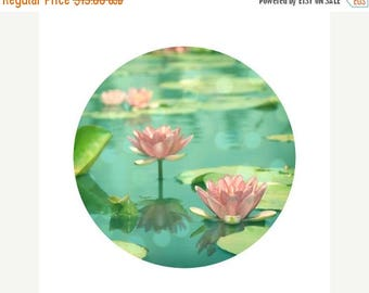 50% OFF SALE Lotus Flower, Pink, Teal, Pond, Green, Water, Nature Photograph - Circular image on a 5x5 inch Fine Art Print -Dancing in Still