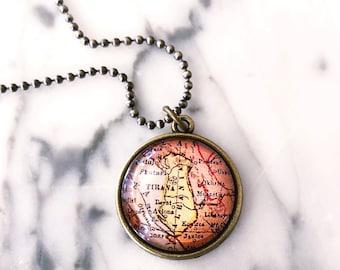 Albania Map Necklace - Albania Necklace - Albania Jewelry - Wanderlust Necklace - Wanderlust Jewelry