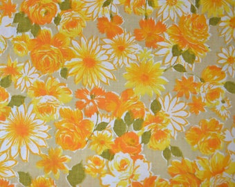 Vintage 1960s or 1970s Lady Pepperell Floral Twin Flat Sheet